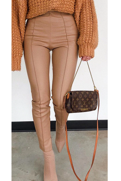 To the Edge Faux Leather Pants - Tan