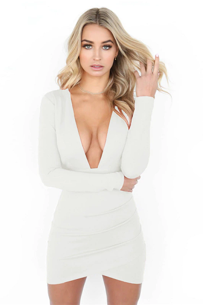 Say My Name Backless Dress - White