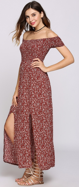 Her Garden Glows Maxi Dress - Red