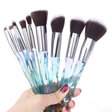 Queen Thangs 10-Piece Makeup Brush Set - Blue & Black