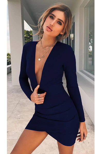 Say My Name Backless Dress - Navy Blue