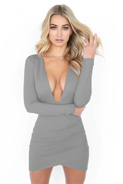 Say My Name Backless Dress - Grey