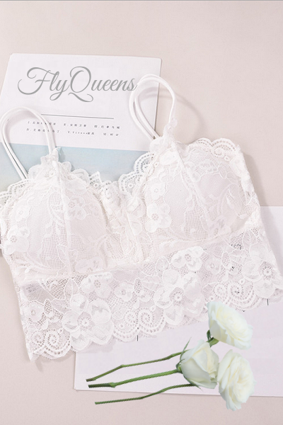 Lace Lust Bralette - White - flyqueens
