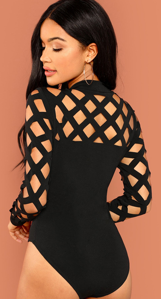 Caught in My Web Bodysuit - Black - flyqueens