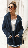 Hot Cocoa Sherpa Coat - Navy Blue - flyqueens