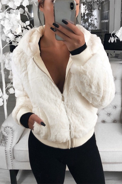 No Hype Faux Fur Coat - White - flyqueens