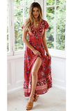 Floral Fine Maxi Dress - Red Floral