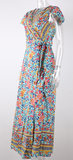 Floral Fine Maxi Dress - Light Blue