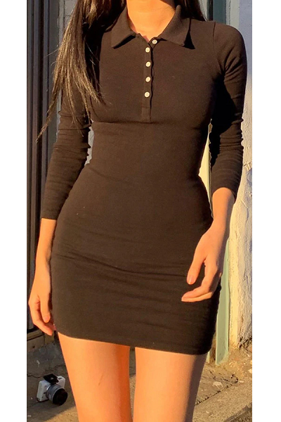 School Him Dress - Black