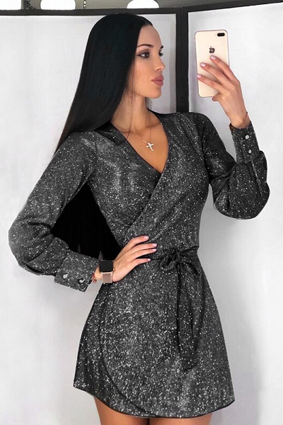 Glam Honey Wrap Dress - Black
