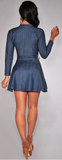 Fly Doll Fit & Flare Denim Dress - flyqueens