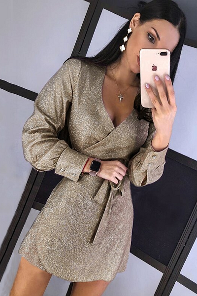 Glam Honey Wrap Dress - Beige