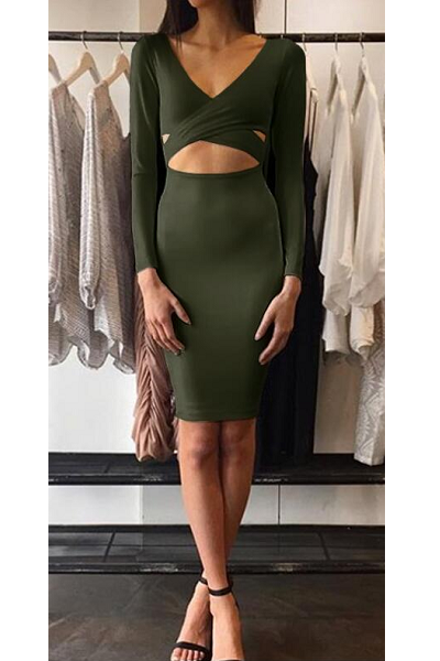 On The DL Dress - Olive