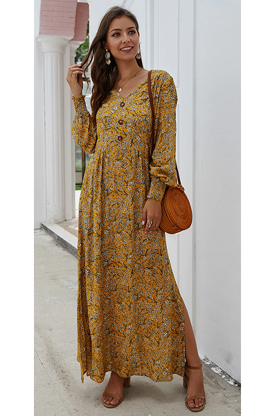 Free Spirit Maxi Dress - Yellow