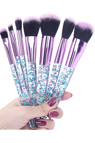 Stay Queening 7-Piece Makeup Brush Set - Blue