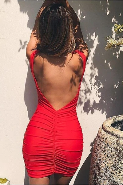Never Leave My Side Backless Dress - Red