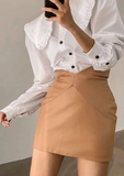 High Key Honey Faux Leather Skirt - Tan