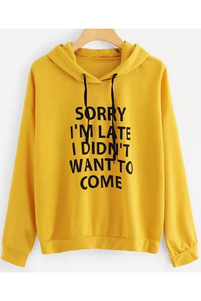 Sorry Not Sorry Hoodie - Yellow - flyqueens