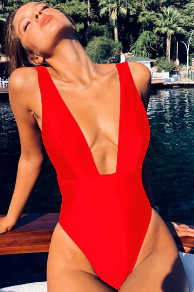 Head Babe in Charge Swimsuit - Red - flyqueens