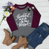 Thankful & Blessed Top - Burgundy - flyqueens