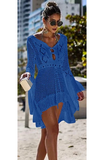 Catch Her Vibe Crochet Dress - Royal Blue - flyqueens