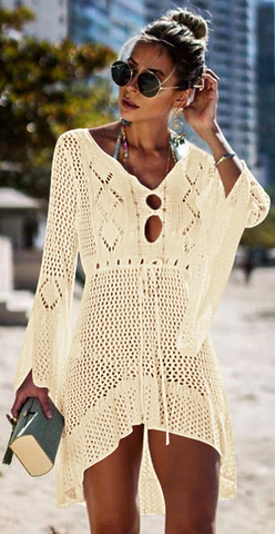 Catch Her Vibe Crochet Dress - Cream - flyqueens