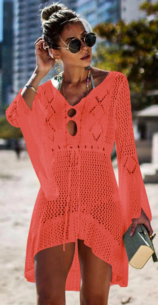 Catch Her Vibe Crochet Dress - Coral - flyqueens