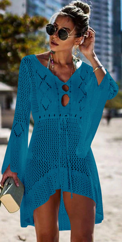 Catch Her Vibe Crochet Dress - Blue - flyqueens