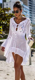 Catch Her Vibe Crochet Dress - White - flyqueens