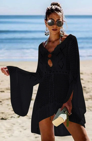 Catch Her Vibe Crochet Dress - Black - flyqueens