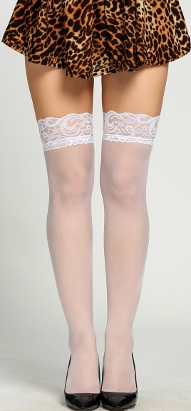 Keep Wishing Thigh-High Lace Tights - White - flyqueens