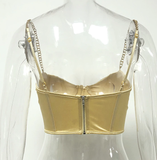 Babe for Life Bustier Crop Top - Gold - flyqueens