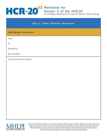 HCR-20 V3 Assessing Risk for Violence (HCR-20 V3) Worksheets (50pk)