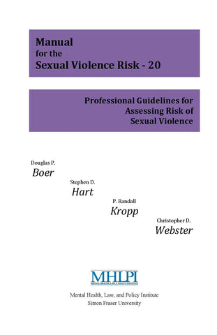Manual for the Sexual Violence Risk (SVR-20)