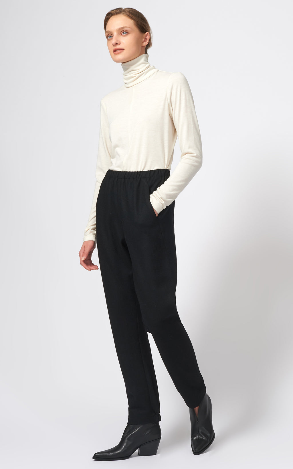 FELTED JERSEY ANGLE SEAM TROUSER - BLACK