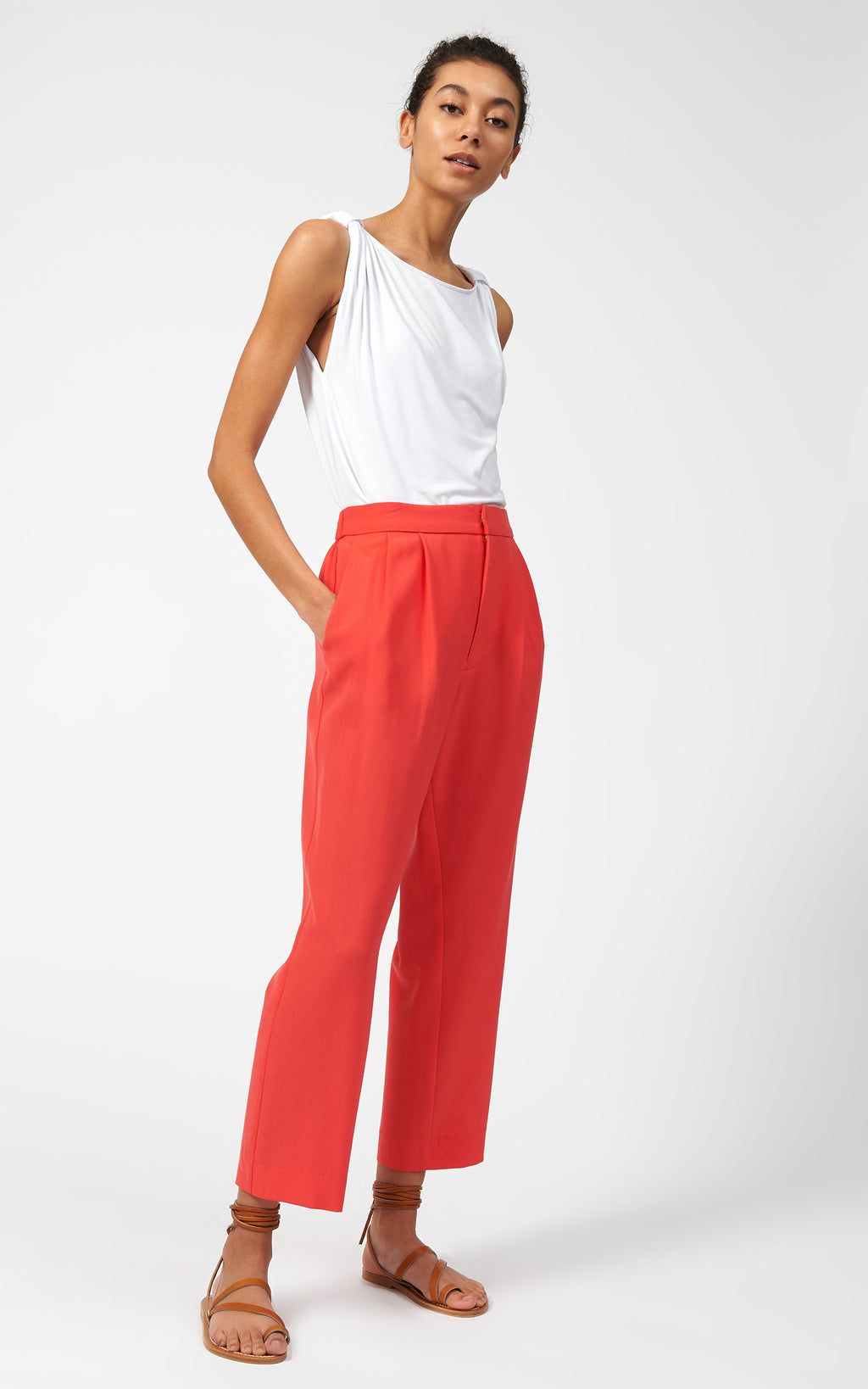 ELASTIC BACK TROUSER  - CORAL