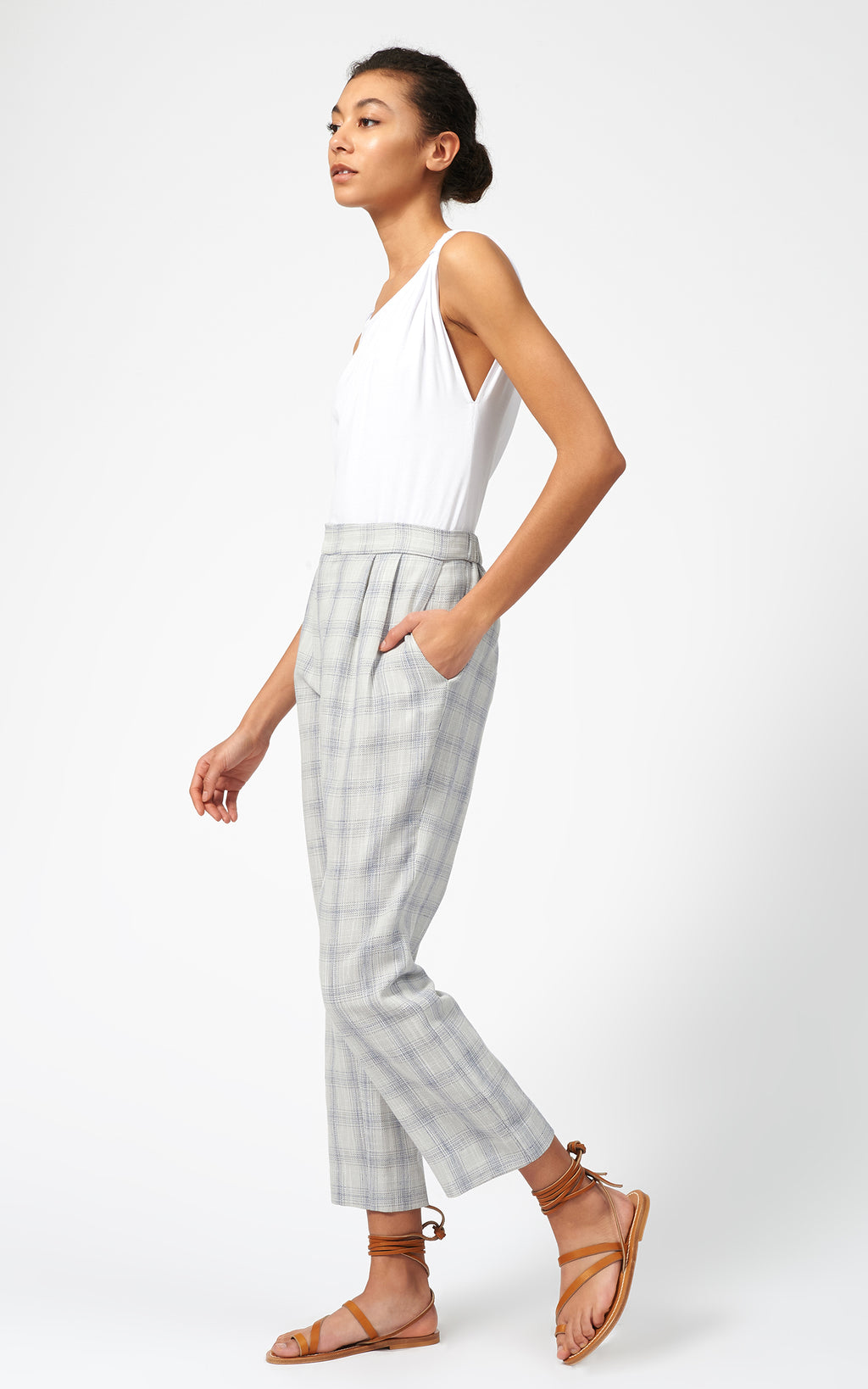 ELASTIC BACK TROUSER - SUMMER PLAID