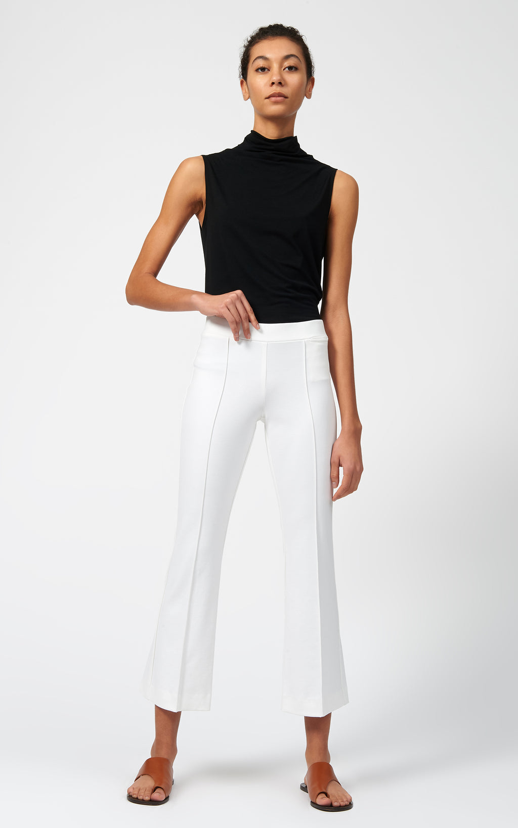 PINTUCK PONTE CROP FLARE PANT - WHITE