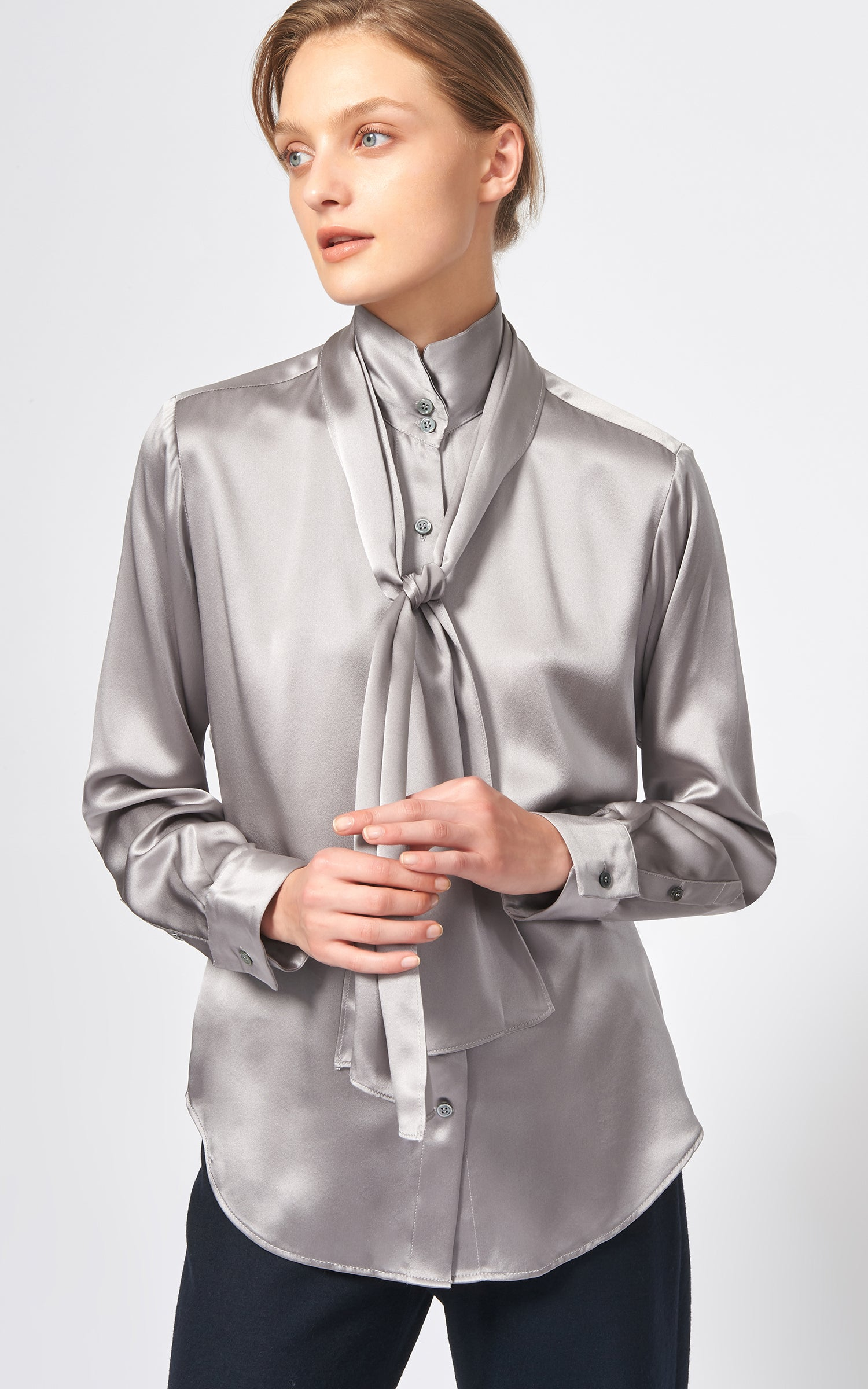 SCARF TIE BLOUSE - SILVER