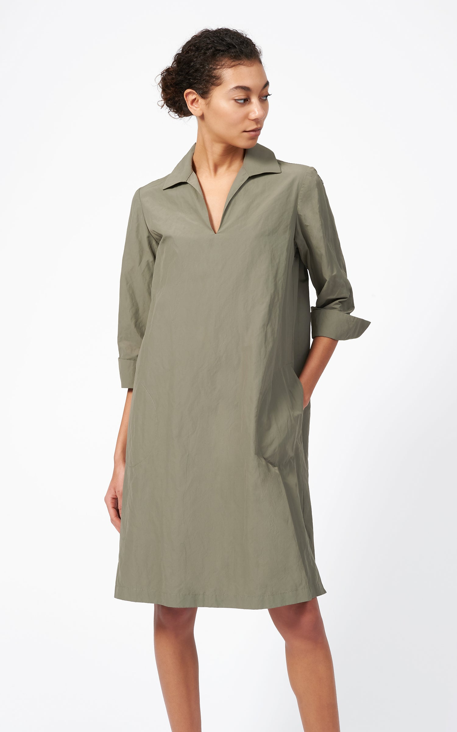 COLLARED V-NECK DRESS - OLIVE