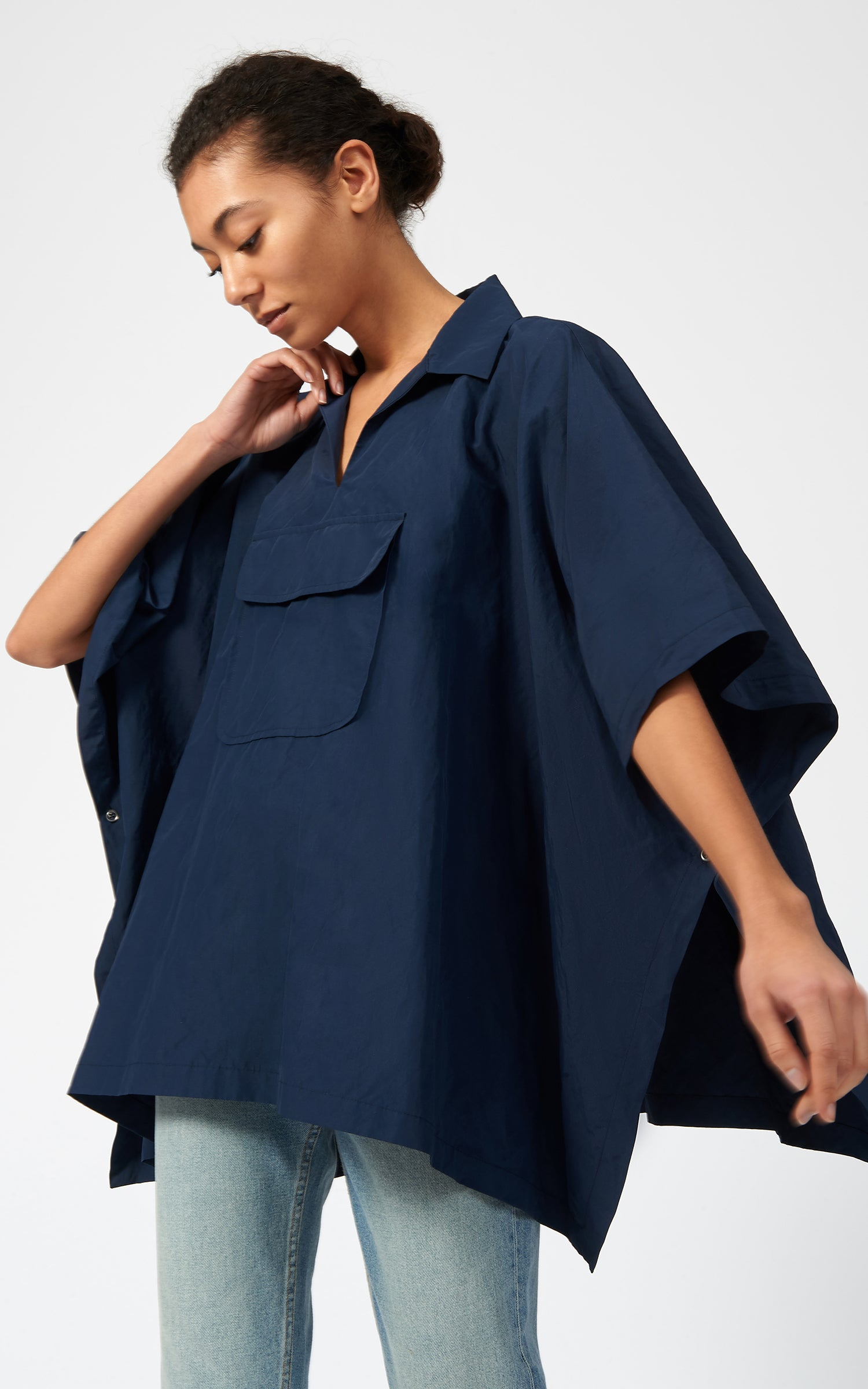 COTTON NYLON ANORAK - NAVY