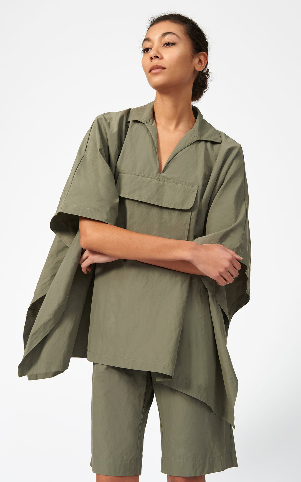 COTTON NYLON ANORAK - OLIVE