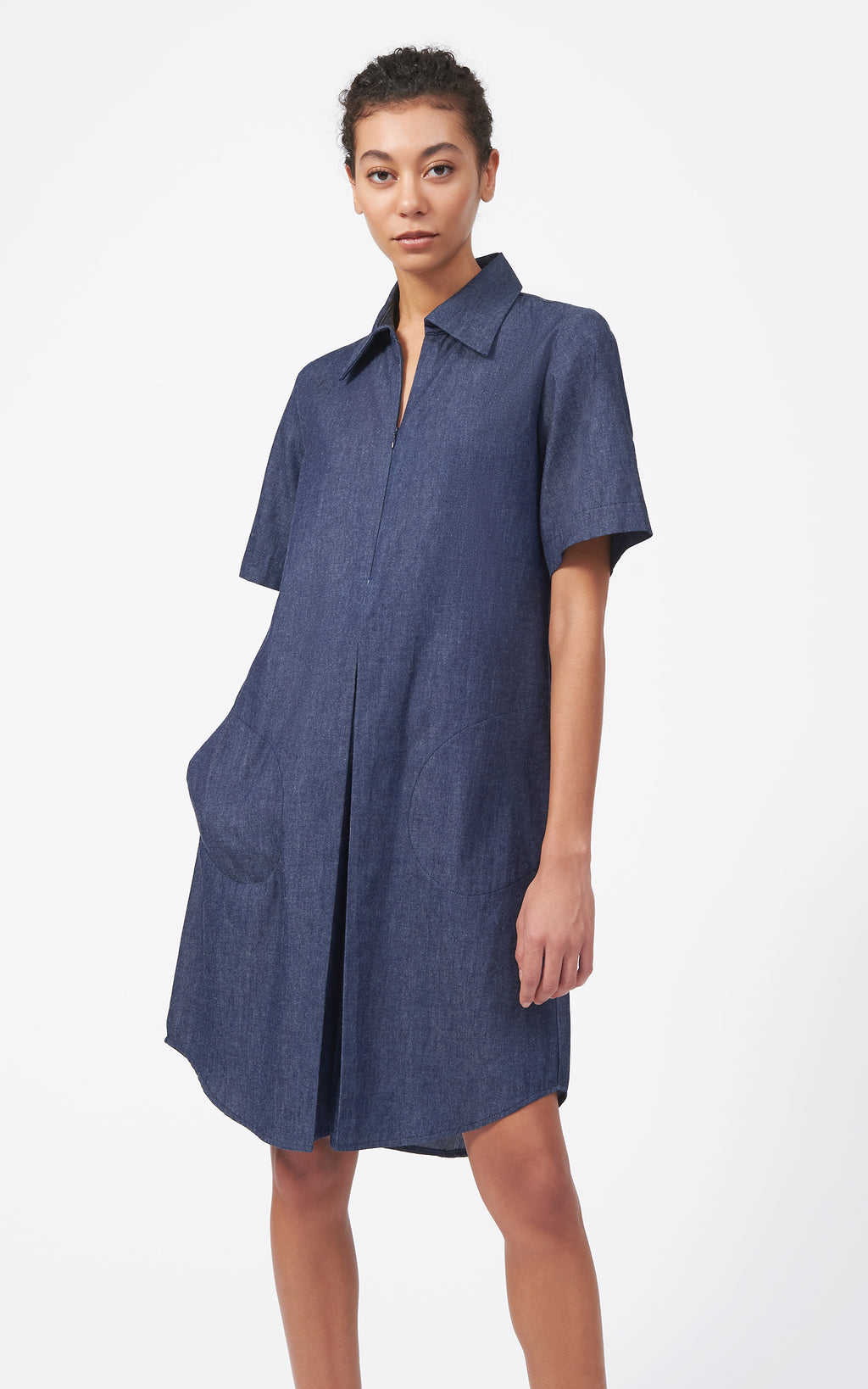 ZIP FRONT PLEAT DRESS - DENIM