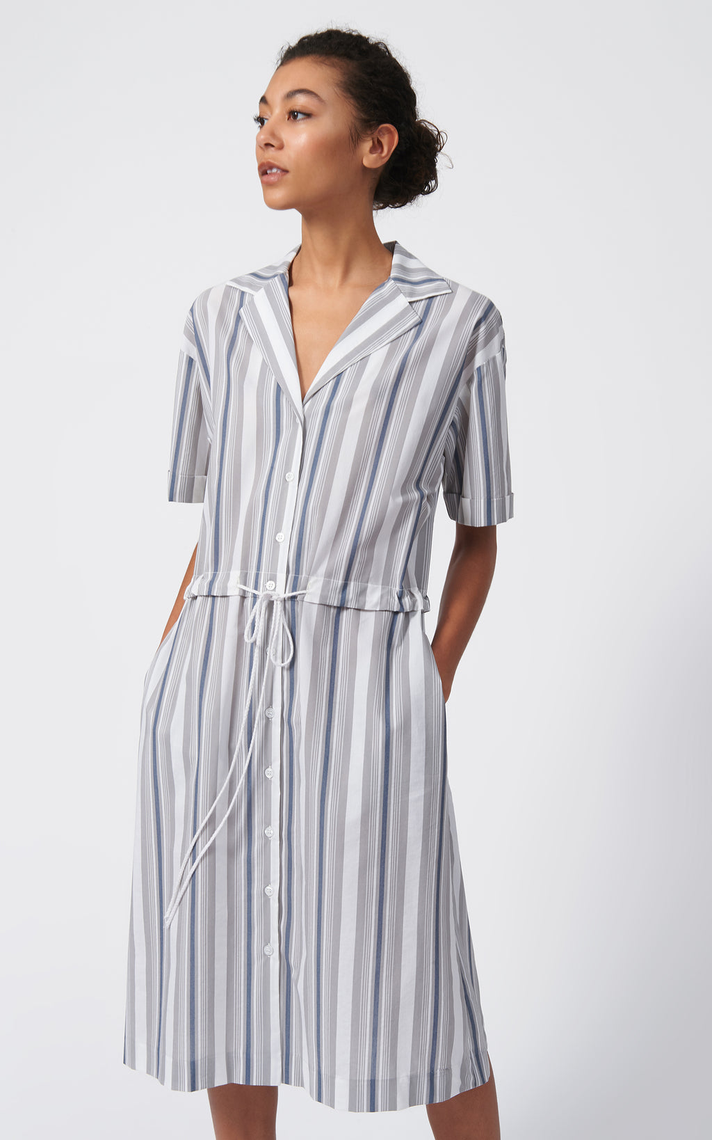 NOTCH COLLAR SHIRT DRESS - STRIPE