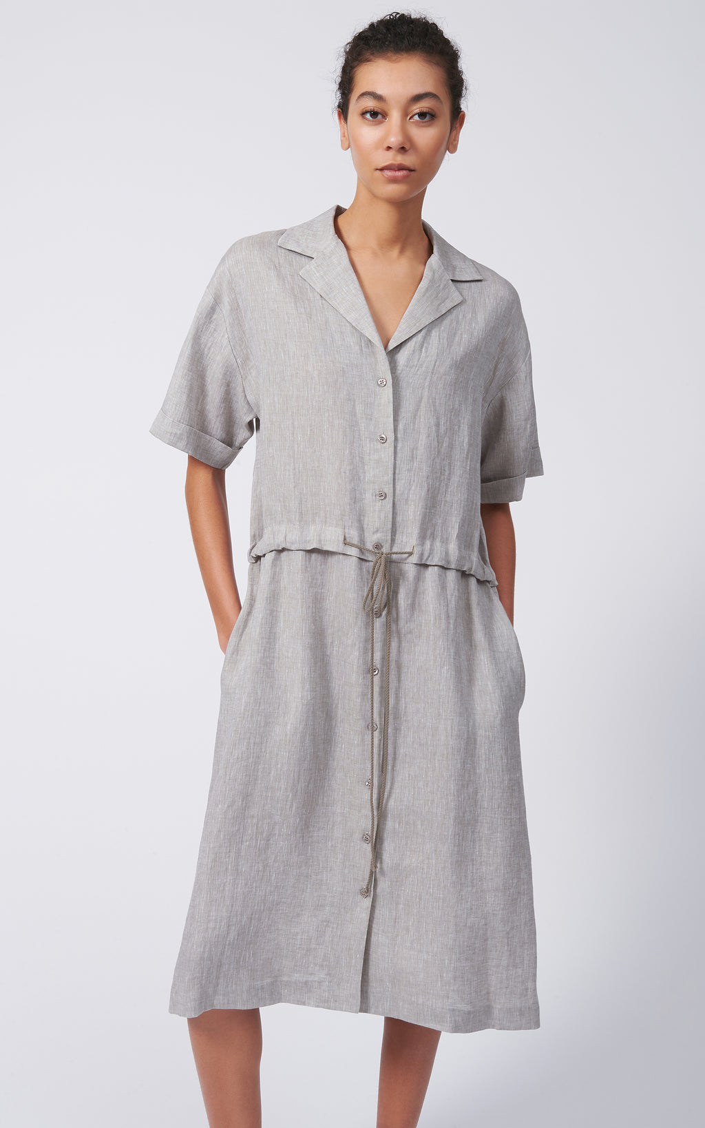 LINEN NOTCH COLLAR SHIRT DRESS