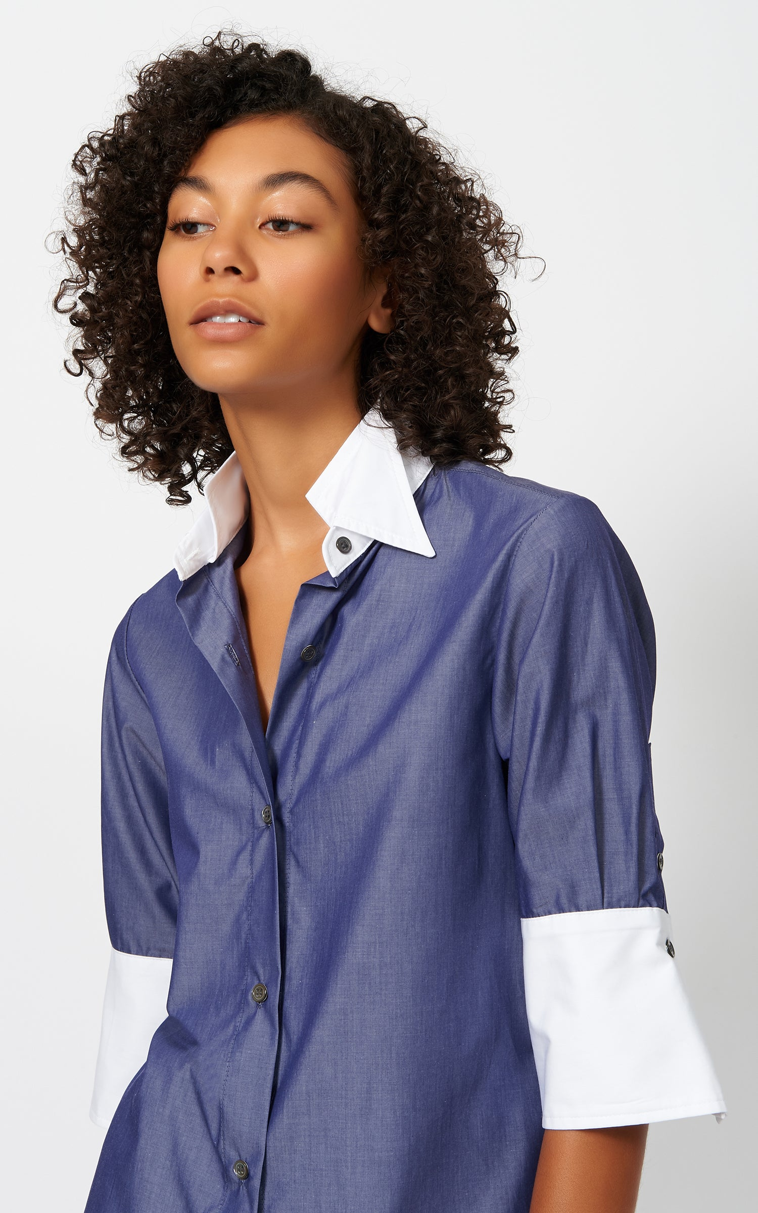 SHORT SLEEVE DOUBLE COLLAR SHIRT - INDIGO