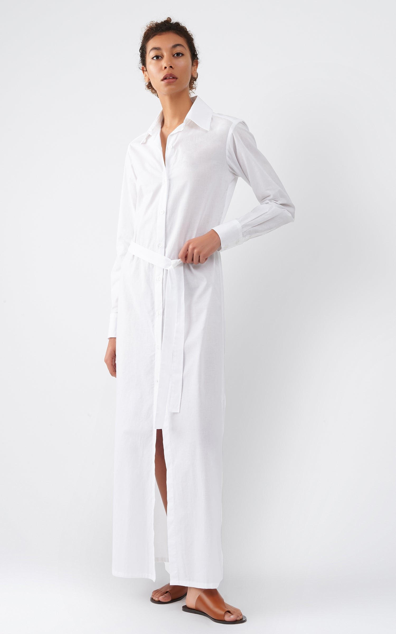 VOILE MAXI SHIRT DRESS