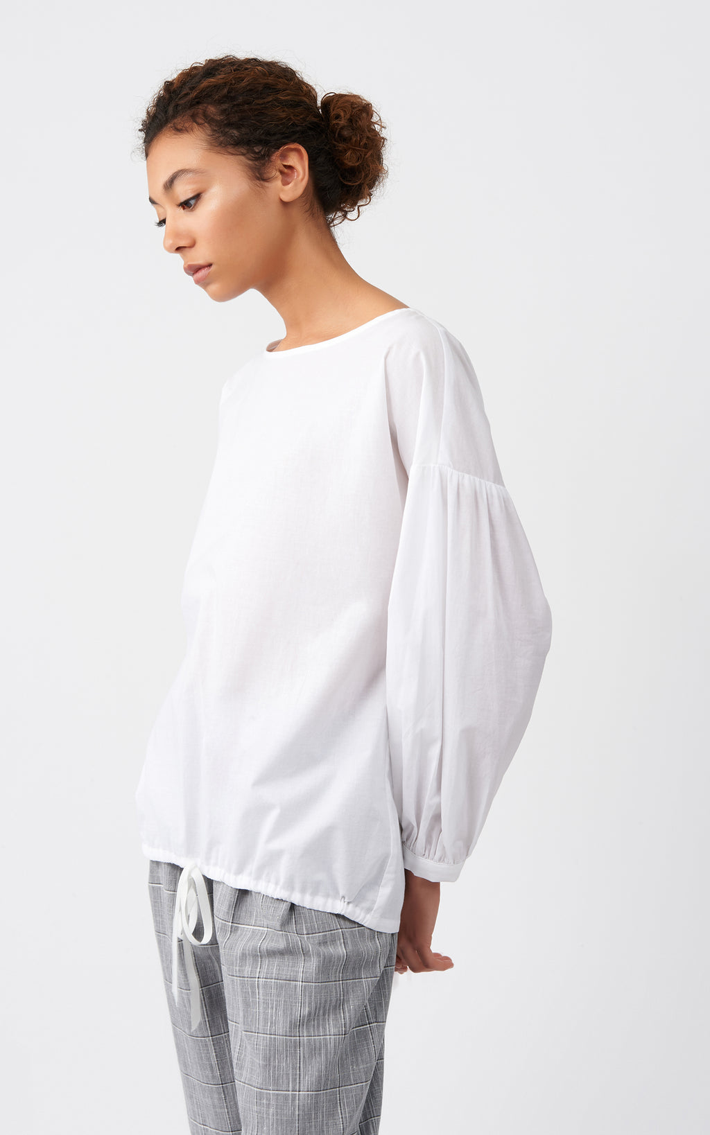 VOILE SHIRRED SLEEVE TOP