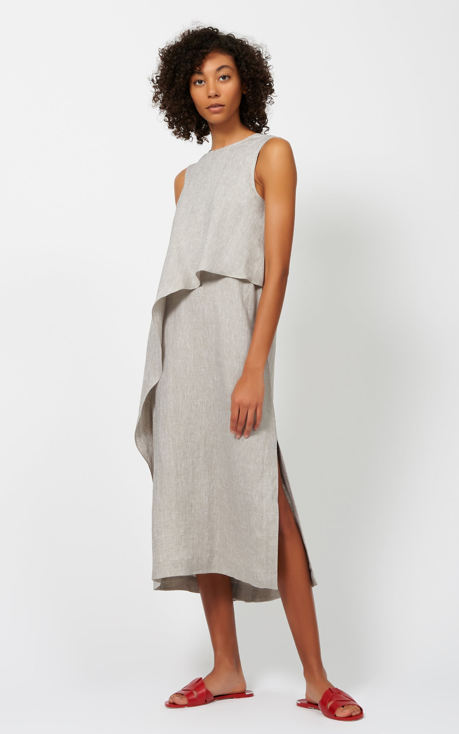 DRAPE CAPE DRESS - KHAKI