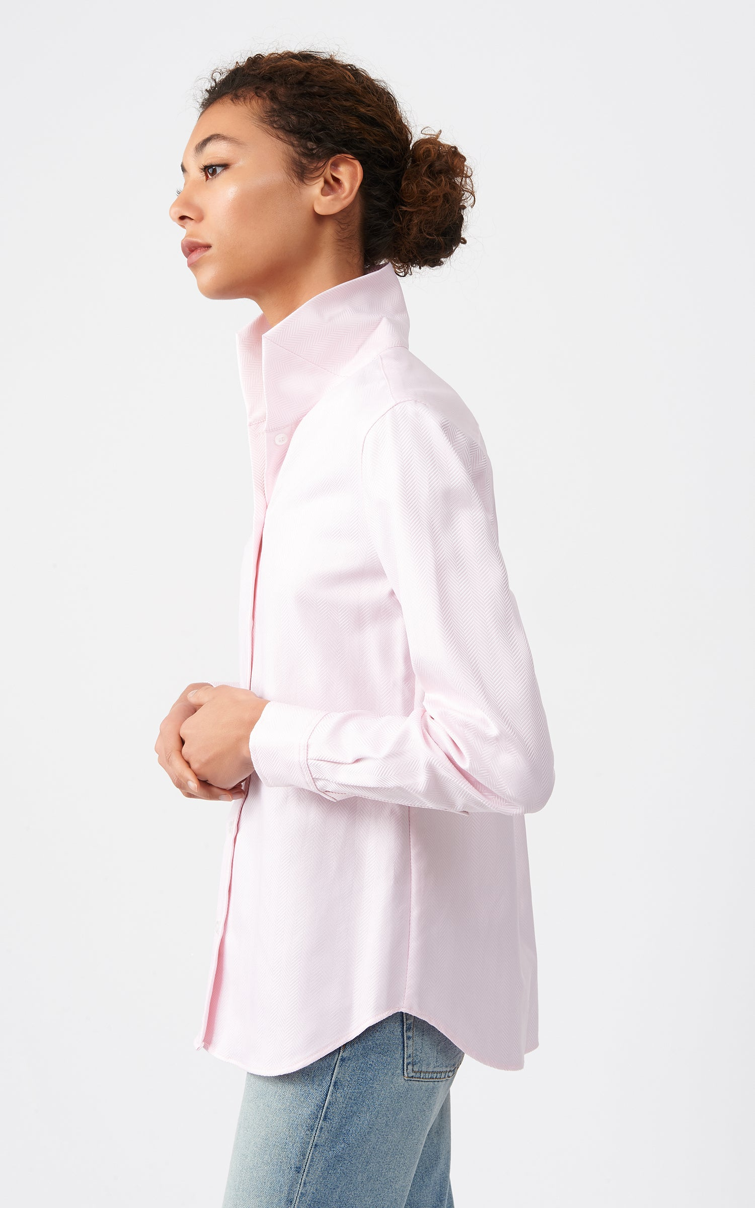 GINNA BOX PLEAT SHIRT - PINK HERRINGBONE